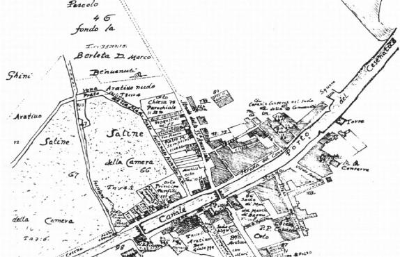 Vecchia mappa di Cesenatico con le Conserve